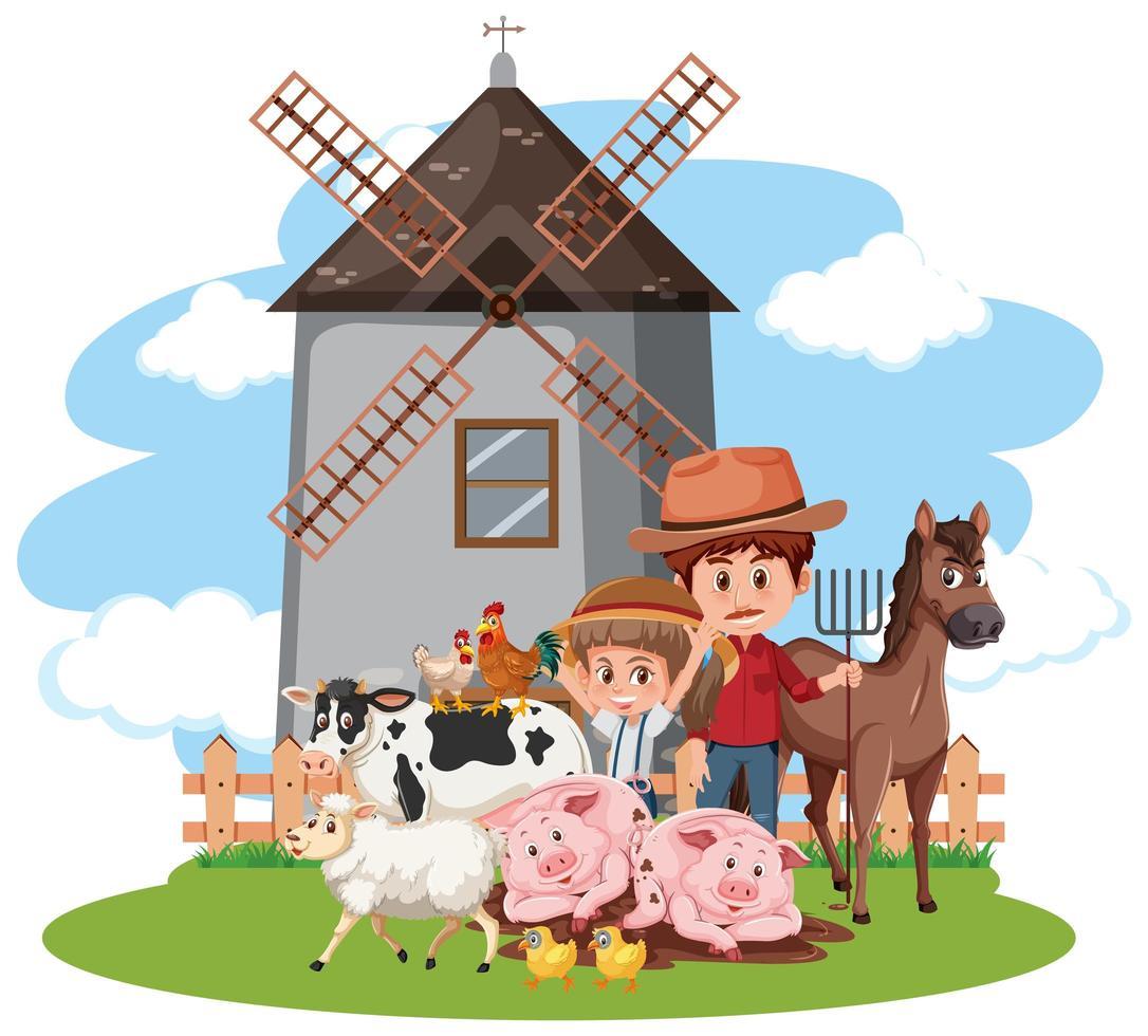 Farm Charaktere Szene vektor