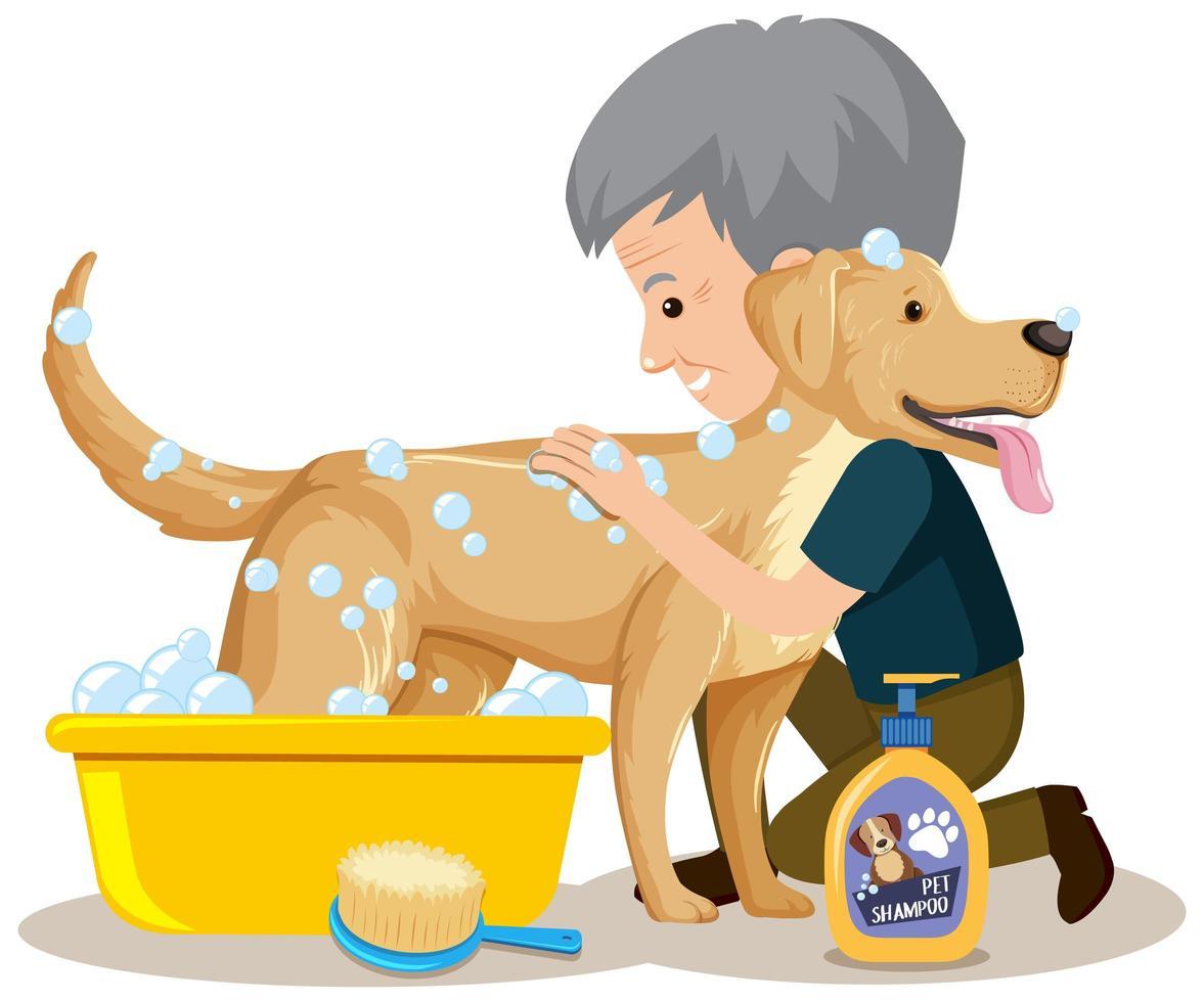 Mann gibt seinem Hund ein Bad vektor