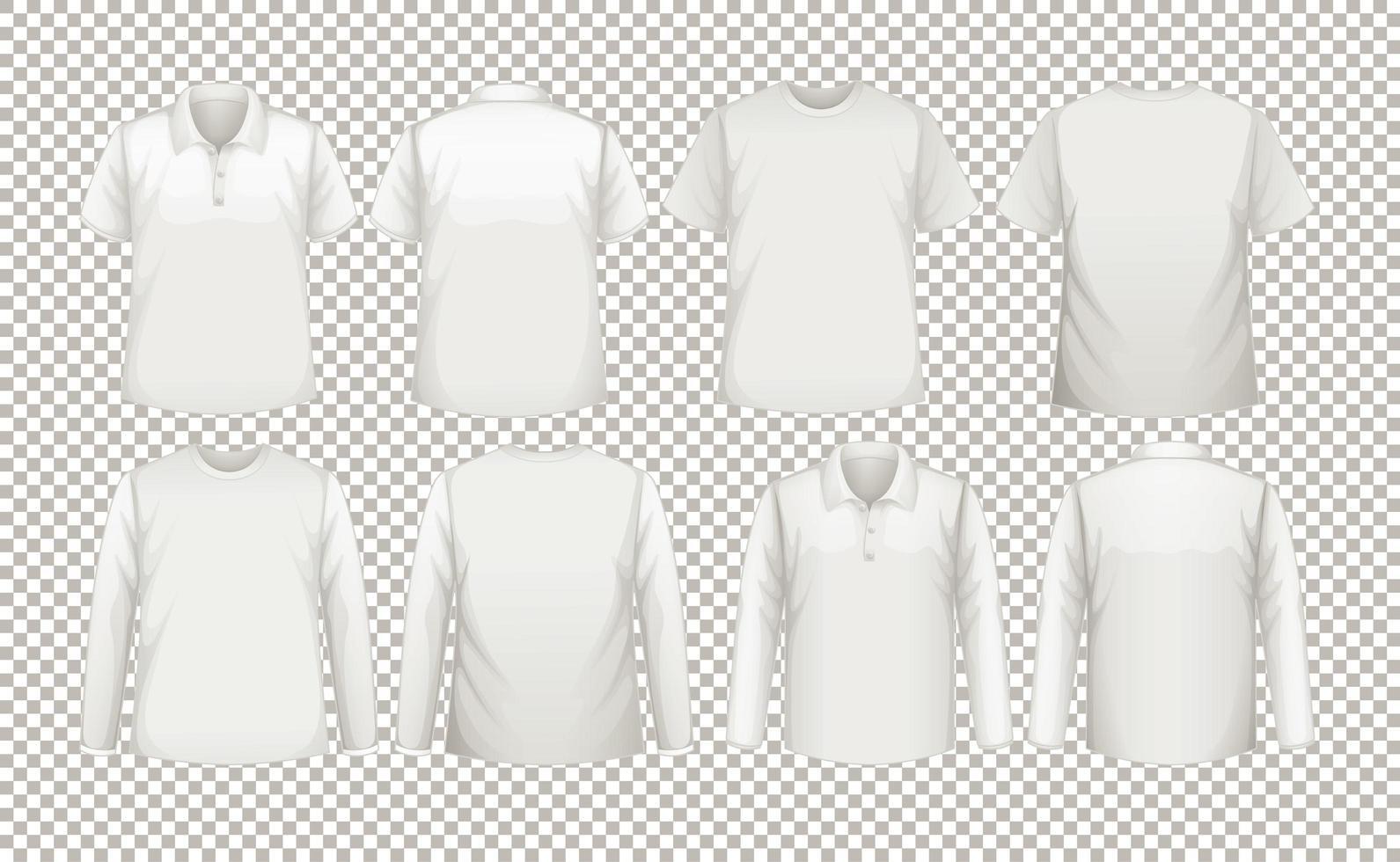 en samling av olika typer av vita skjortor vektor