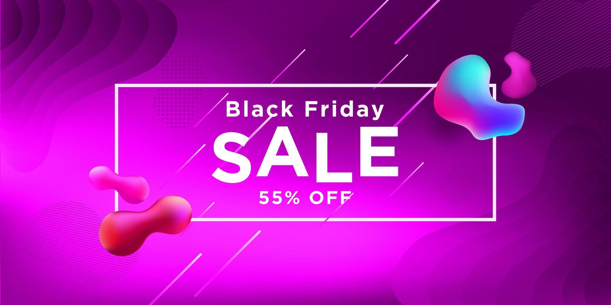 svart fredag försäljning rosa banner design vektor