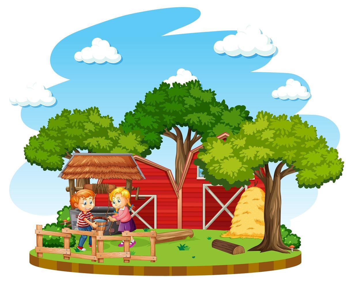 Kinder erledigen Hausarbeiten auf einem Bauernhof vektor