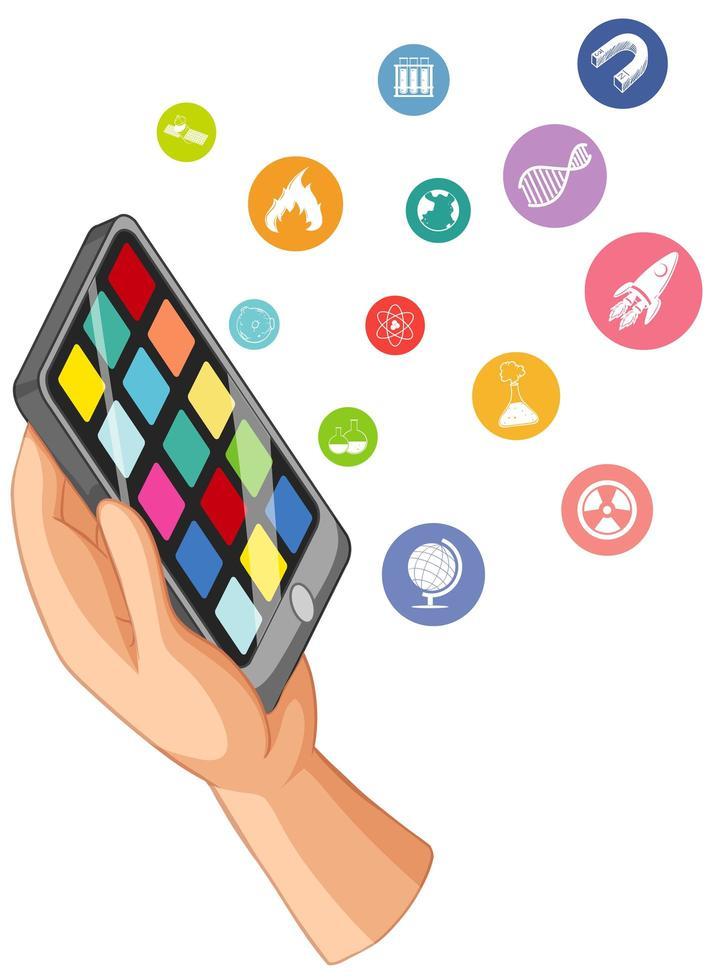 hand som håller en smart telefon med utbildning ikoner vektor