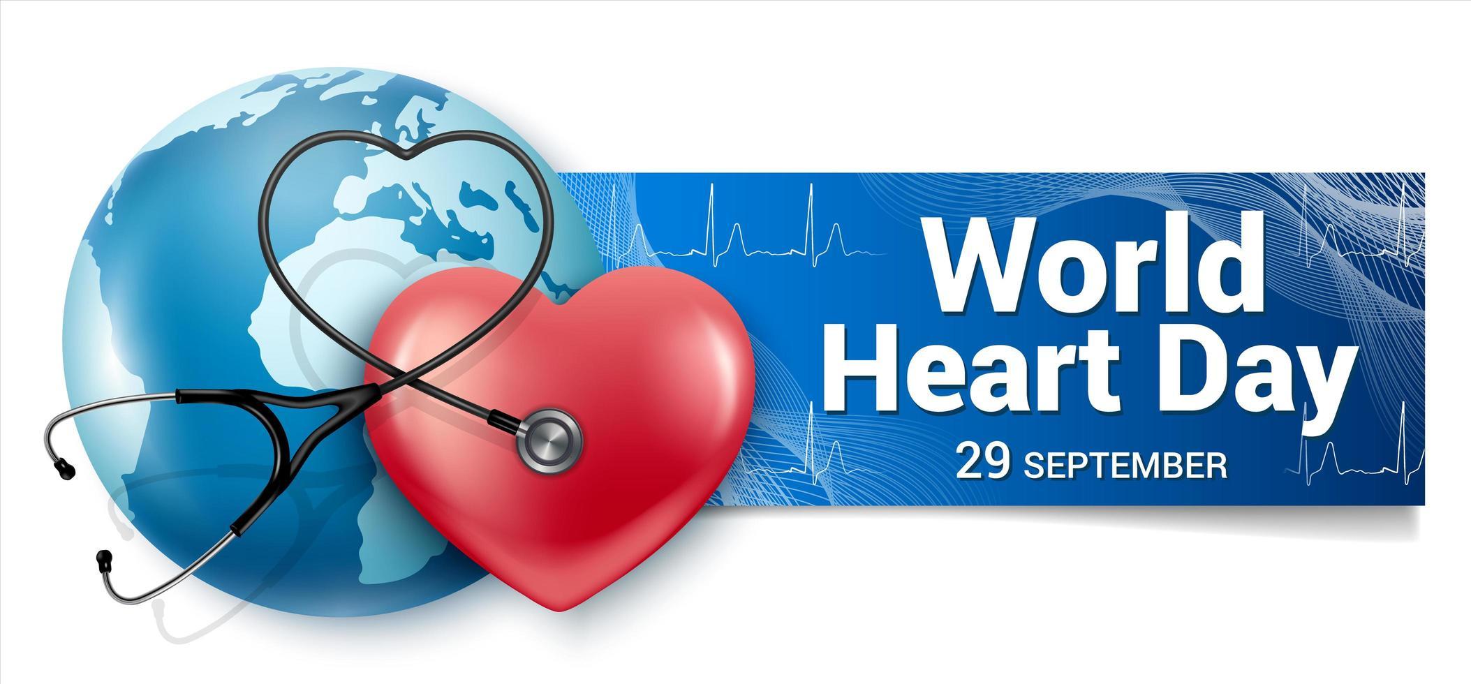 världen hjärtat dag banner vektor