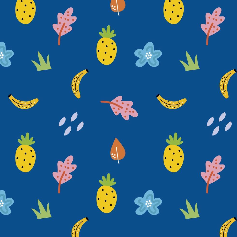 frukt och blommor blå sömlös bakgrund vektor