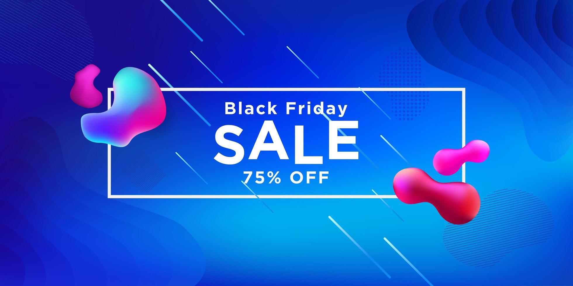 svart fredag försäljning blå banner design vektor