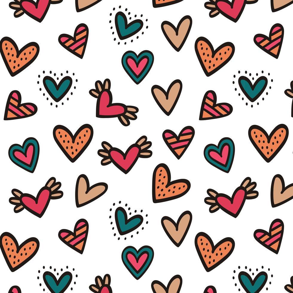 färgrik hjärta sömlös bakgrund vektor