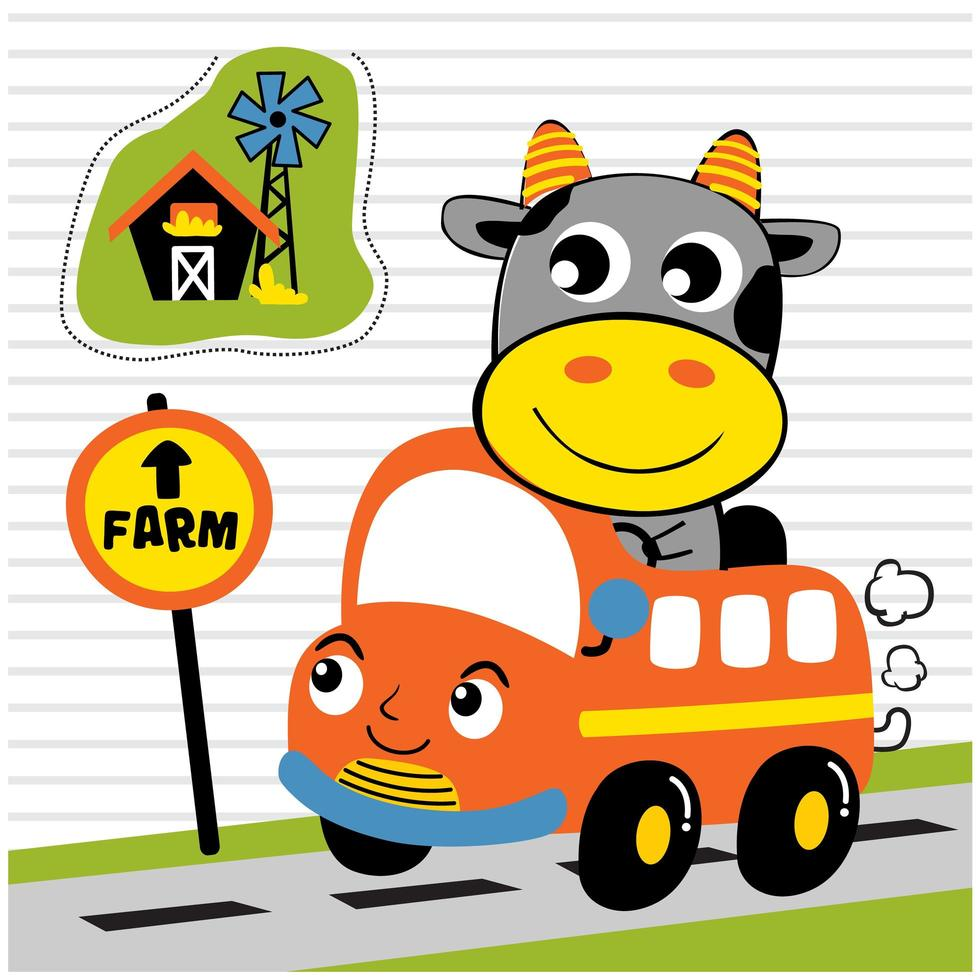 kleine Kuh, die einen Bus reitet vektor