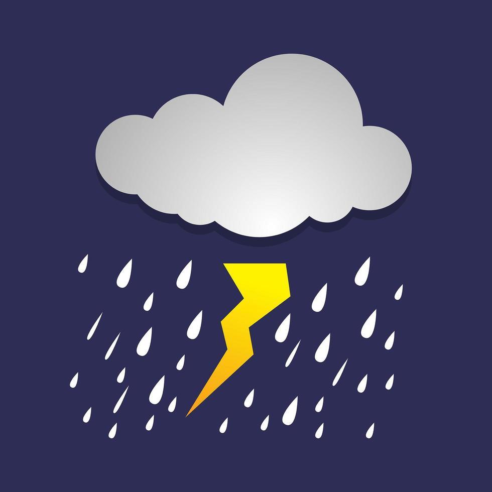 kraftigt regn i mörk himmel vektor