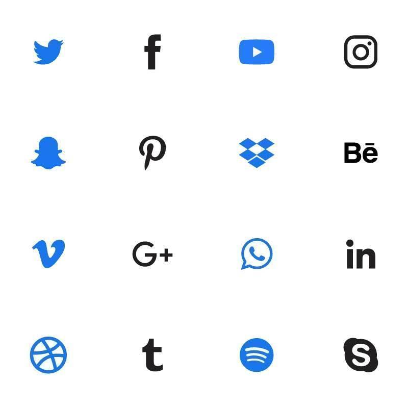 blaues, schwarzes Social Media Set vektor