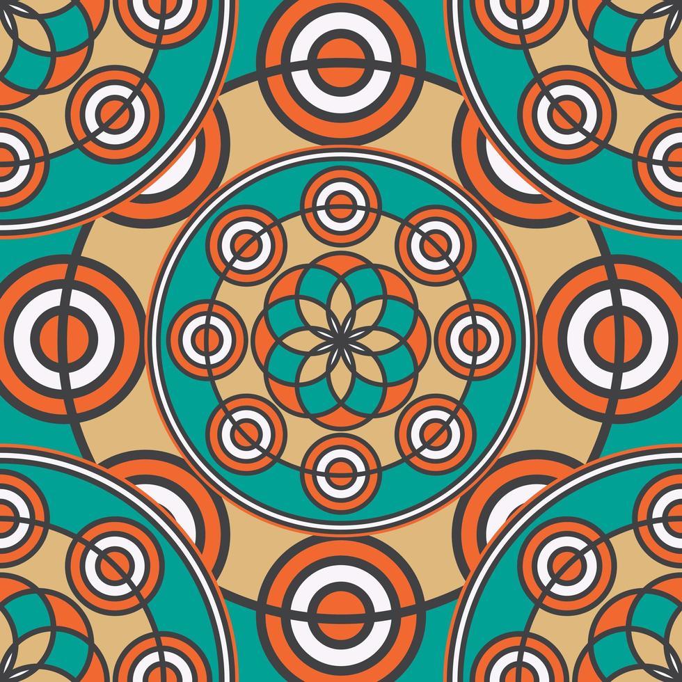 linjär färgad sömlös mandala mönster vektor