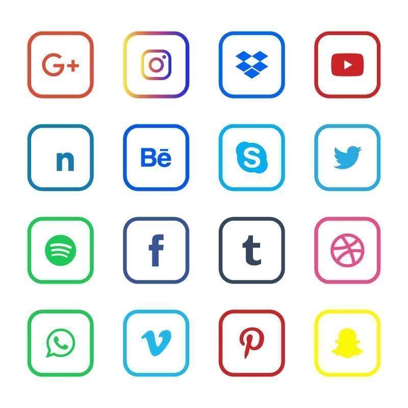 sociala medier ikonuppsättning vektor