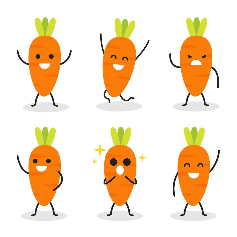 Sammlung von niedlichen Karottencharakter in verschiedenen Posen vektor