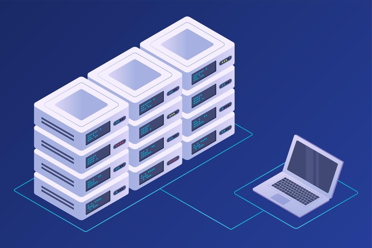 begreppet datacenter, server, databas och teknik vektor