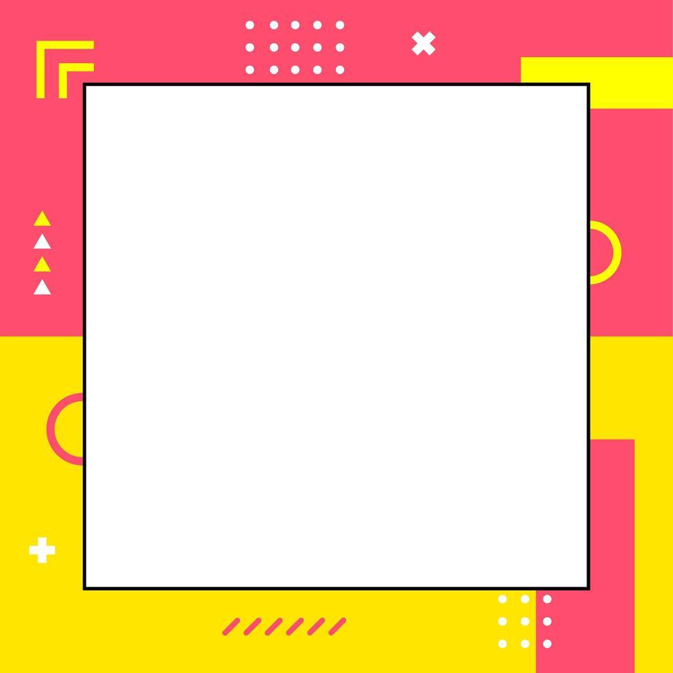 färgglad dynamisk memphis-stilmall i kvadratstorlek vektor
