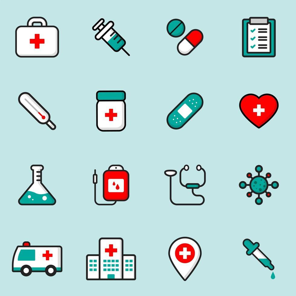 medicinska och hälsovård ikoner set vektor