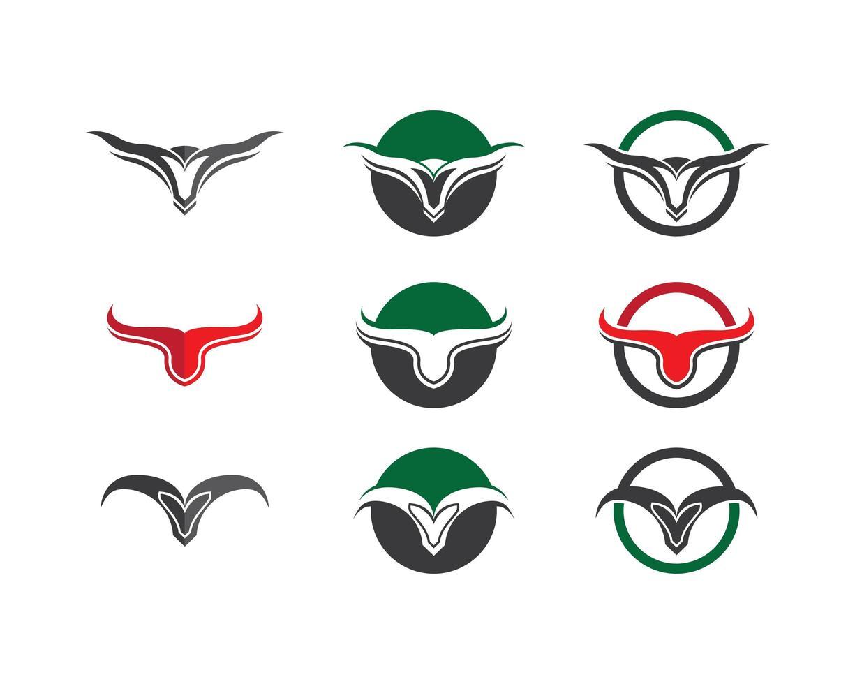 tjurhuvud logotyp bilder set vektor