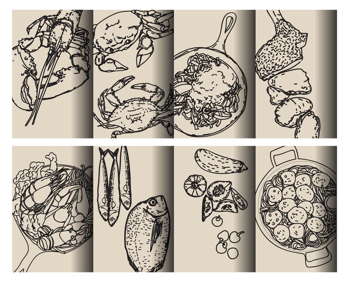 schwarzer Umriss Lebensmittelmuster Hand Zeichnungssatz vektor