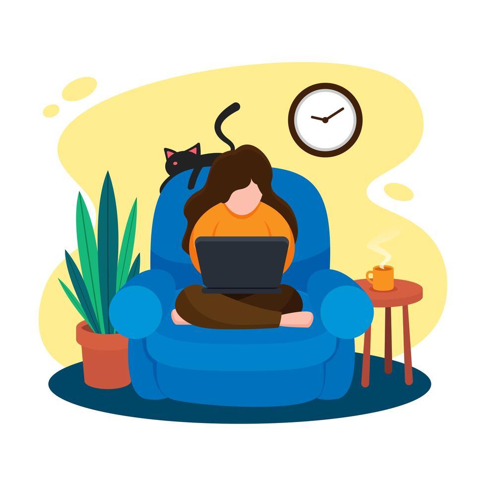Frau sitzt auf einem Sessel und arbeitet mit ihrem Laptop vektor