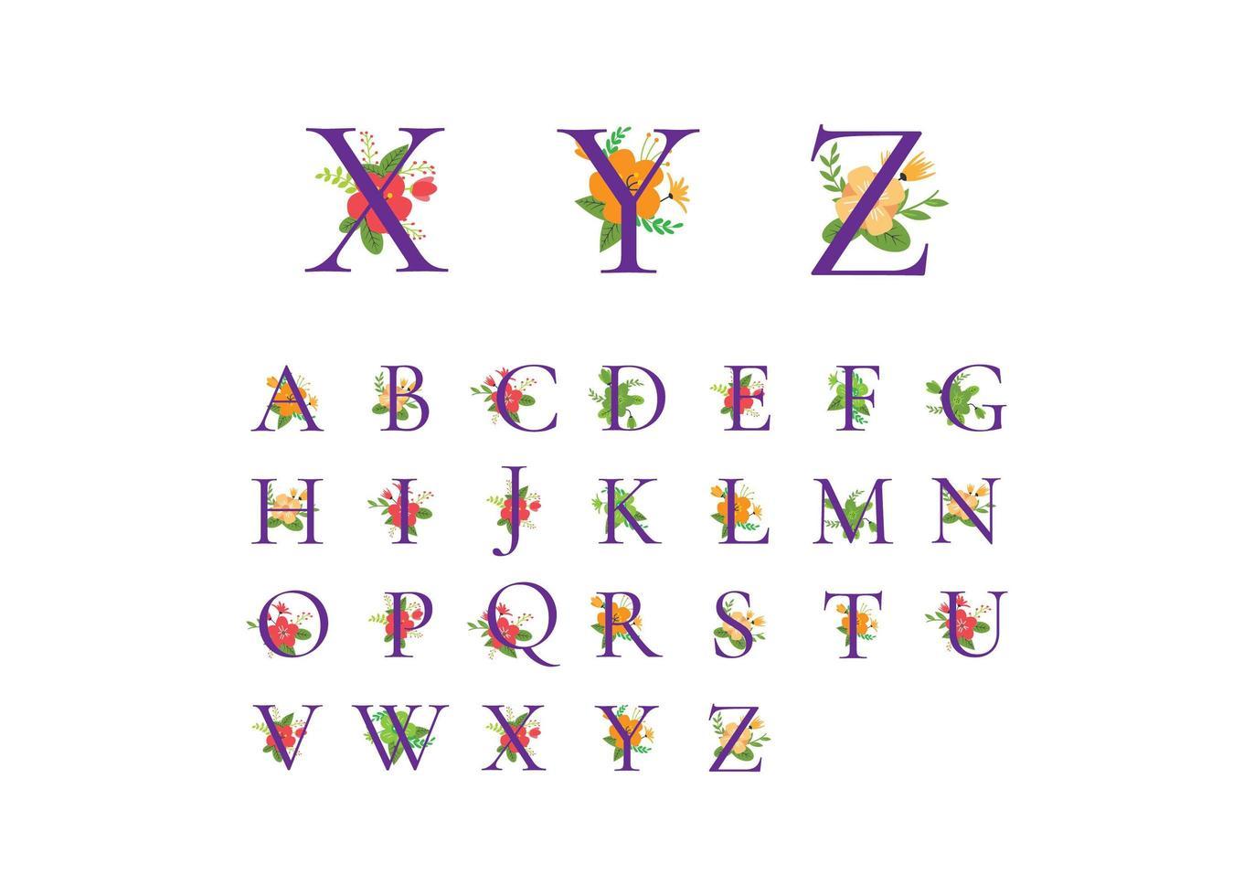 Alphabet Blumenelemente vektor