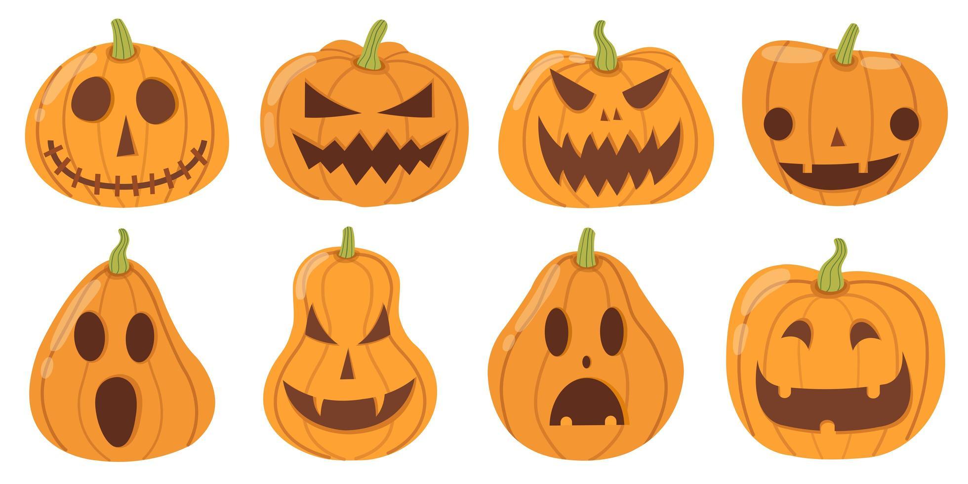 uppsättning tecknad stil halloween pumpor på vitt vektor