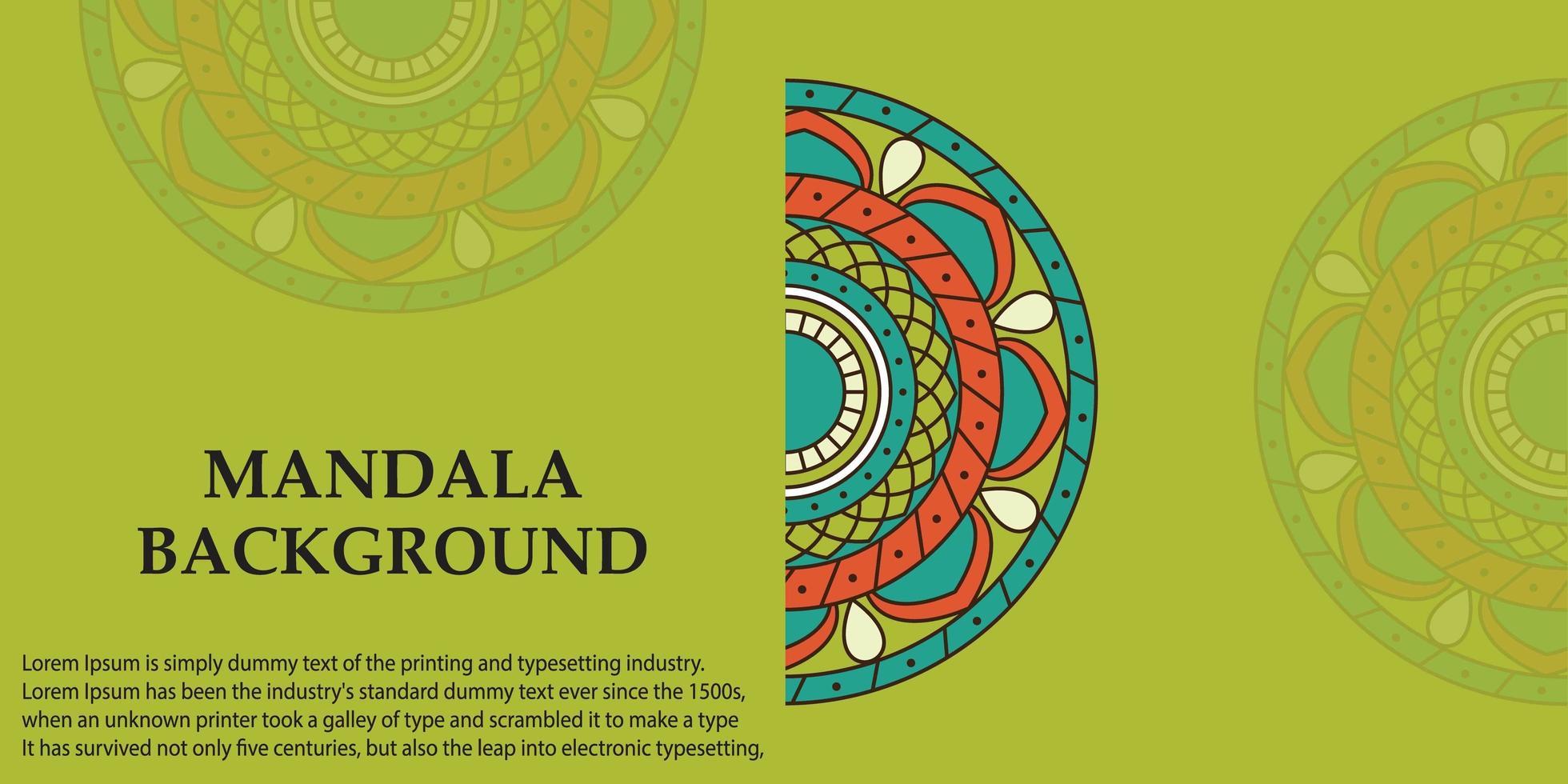 grünes, blaues und orange Mandala Design vektor