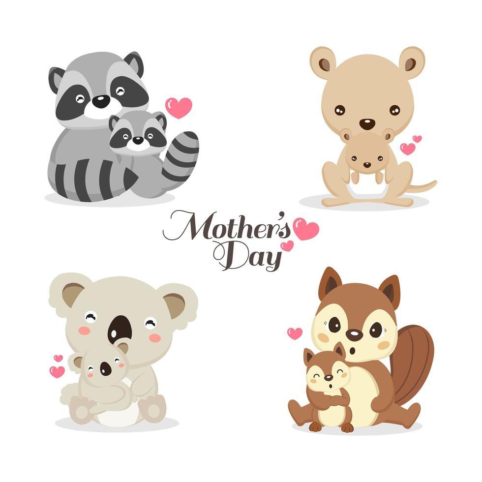 Satz niedliche Tiere für Muttertagsfeier vektor