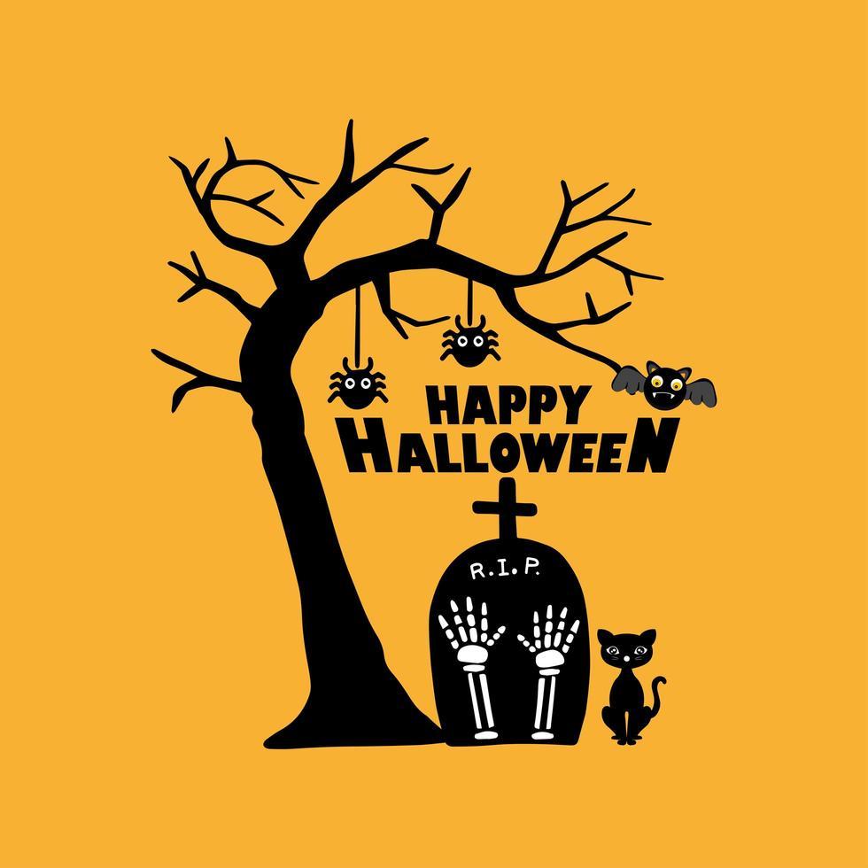 söt kyrkogård för halloween firande gratulationskort vektor
