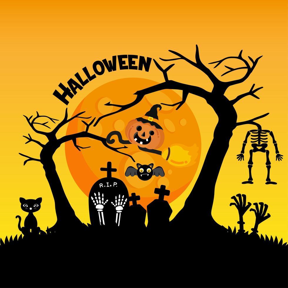 niedlicher Friedhof für Halloween-Feier-Grußkarte vektor