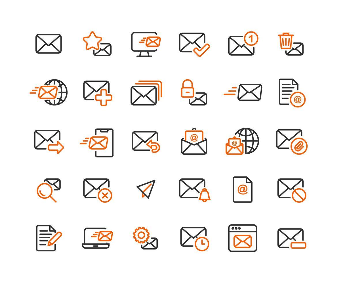 E-Mail- und Mail-Gliederungssymbolsatz vektor