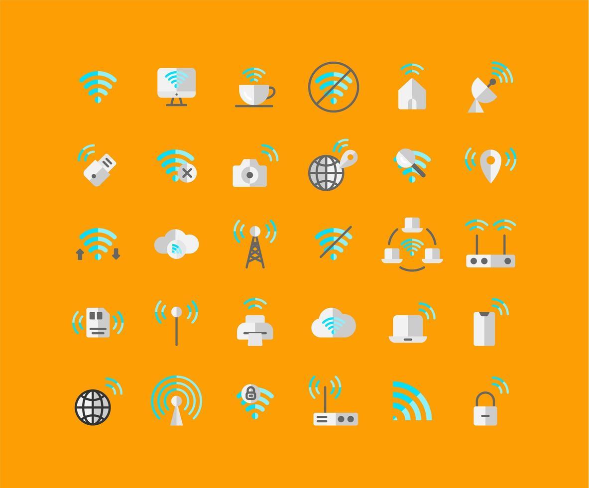Flat Icon Set für drahtlose Netzwerke vektor