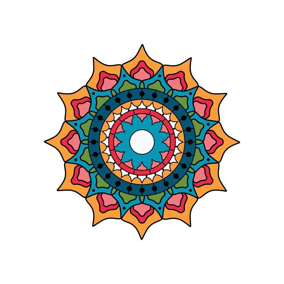 rundes Mandala aus Türkis und Orange vektor