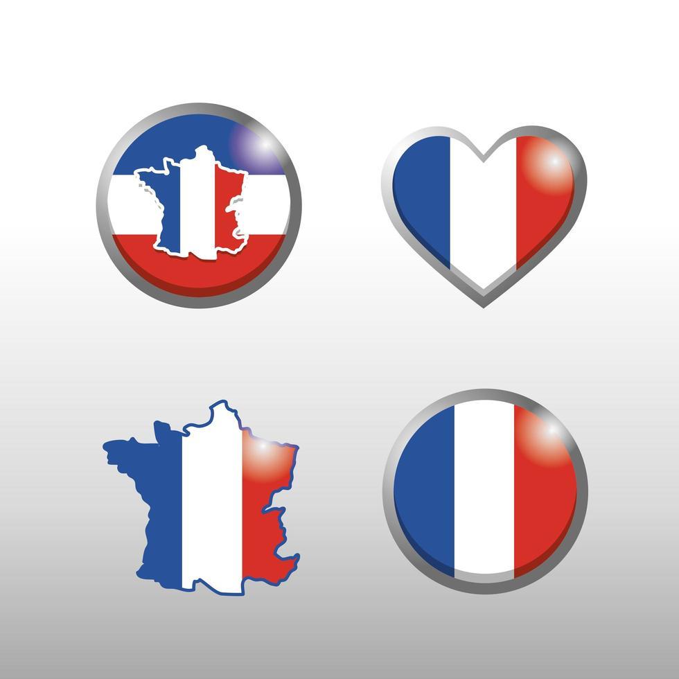 Frankreich Karte Icon Set vektor