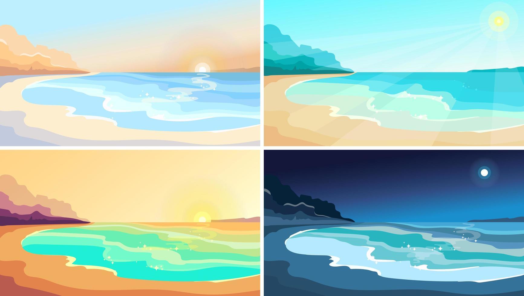 stranden vid olika tider på dagen. vektor