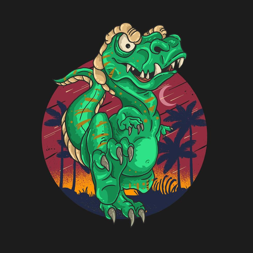 t-rex söt dinosaurie vektor