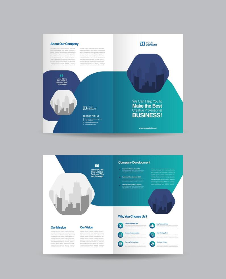 Design der zweifachen Broschüre des Unternehmens mit blauem Farbverlauf vektor