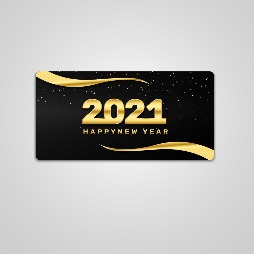 gott nytt år 2021 guld och svart kort vektor