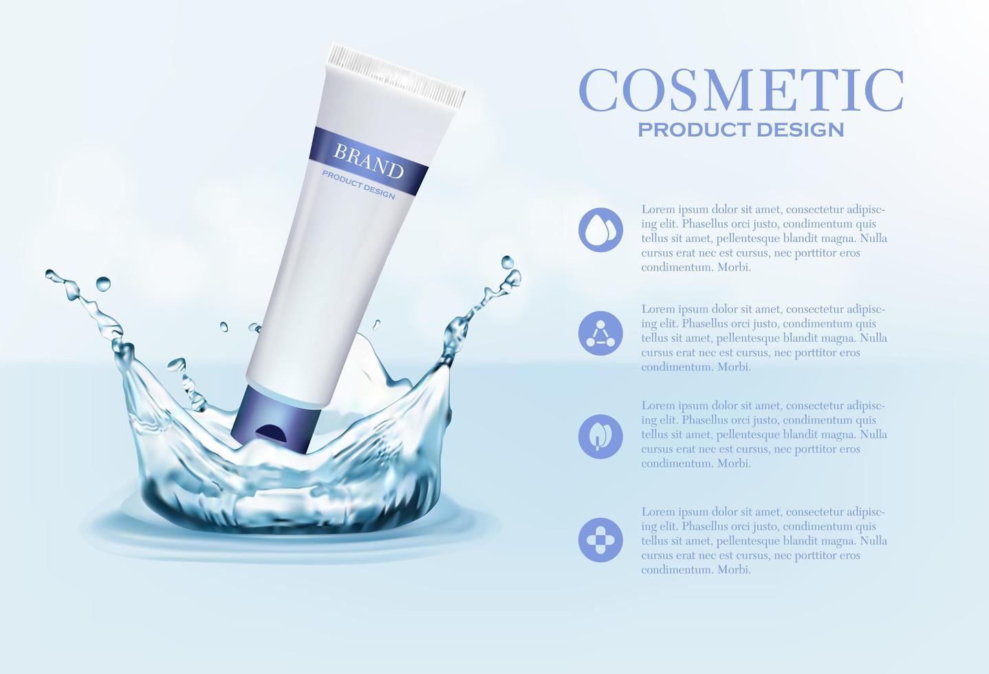 kosmetisk krämrörbehållare på blått med vattenstänk vektor