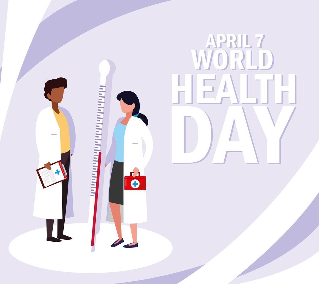Weltgesundheitstag mit Ärzten und Ikonen vektor