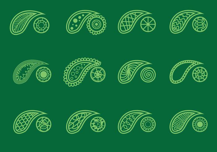 Set Kaschmir Auf Grünem Hintergrund vektor