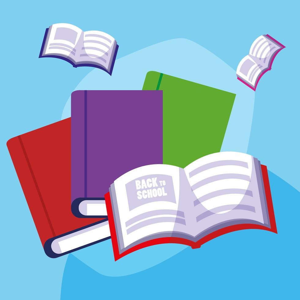 tillbaka till skolan uppsatta böcker vektor