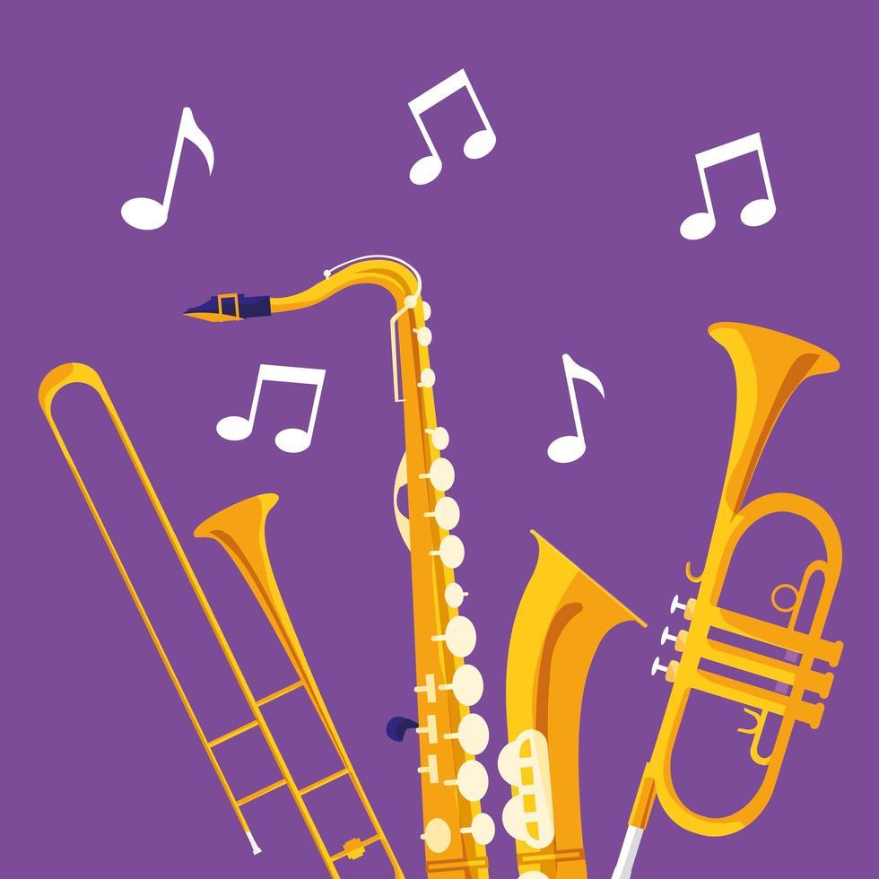 trumpeter och saxofon musikinstrument vektor