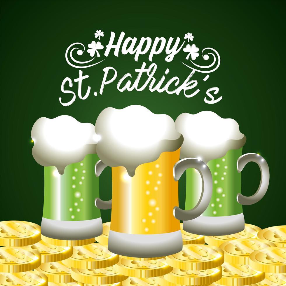 st. Patrick Day Banner mit Gläsern Bier vektor
