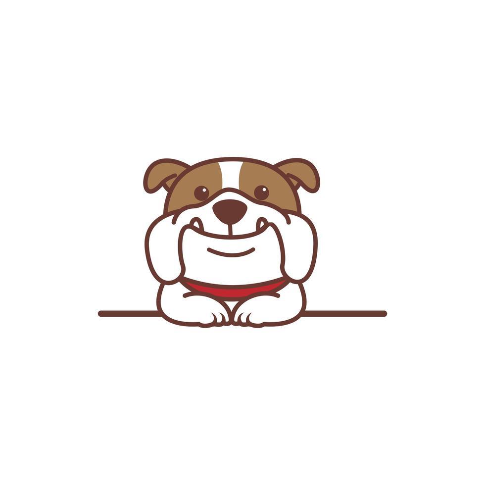 niedlicher Bulldoggenhund, der über Wandkarikatur lächelt vektor