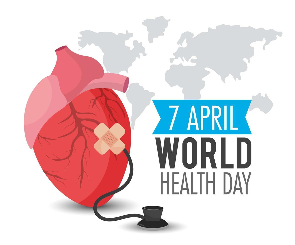 Herzorgan mit Stethoskop für Weltgesundheitstag vektor