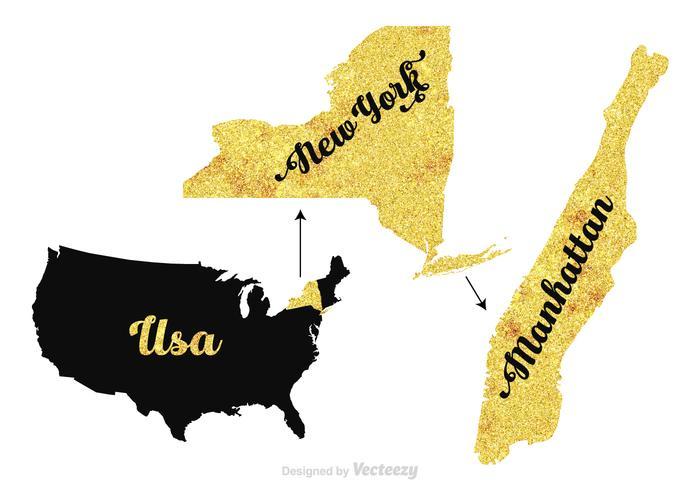 Gratis Manhattan - New York - USA vektor karta