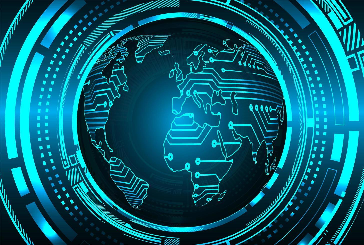 Blue World Cyber Circuit Zukunftstechnologie Hintergrund vektor