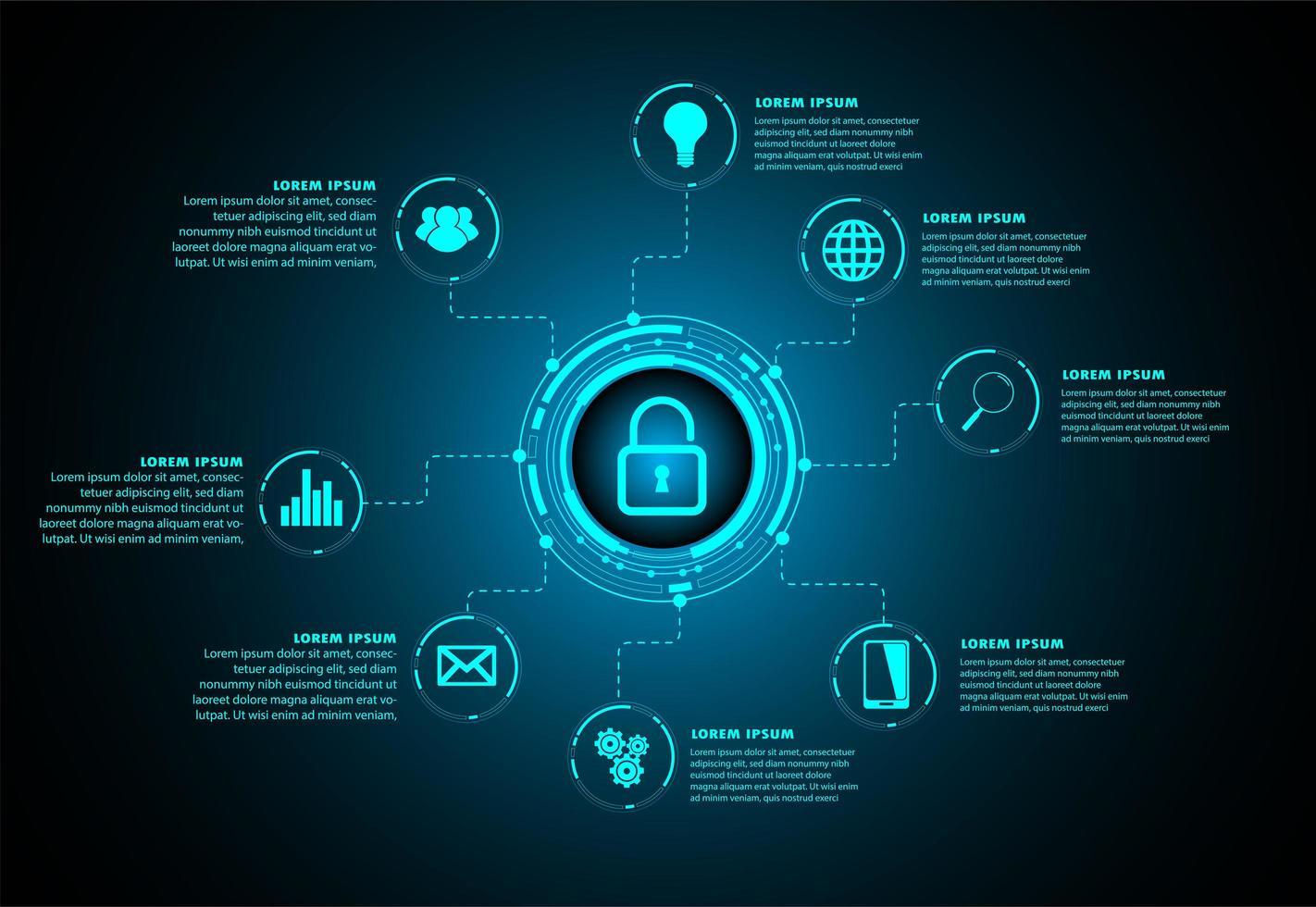 blå hud cybersäkerhet framtida teknologikoncept vektor