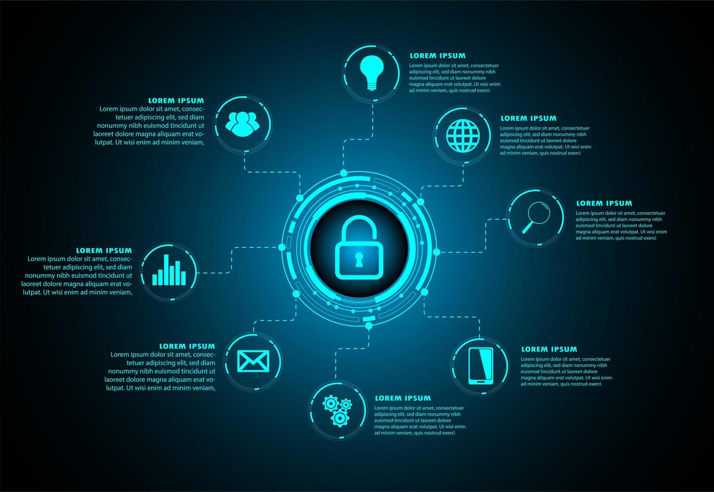 Blue Hud Cyber Security Zukunftstechnologiekonzept vektor