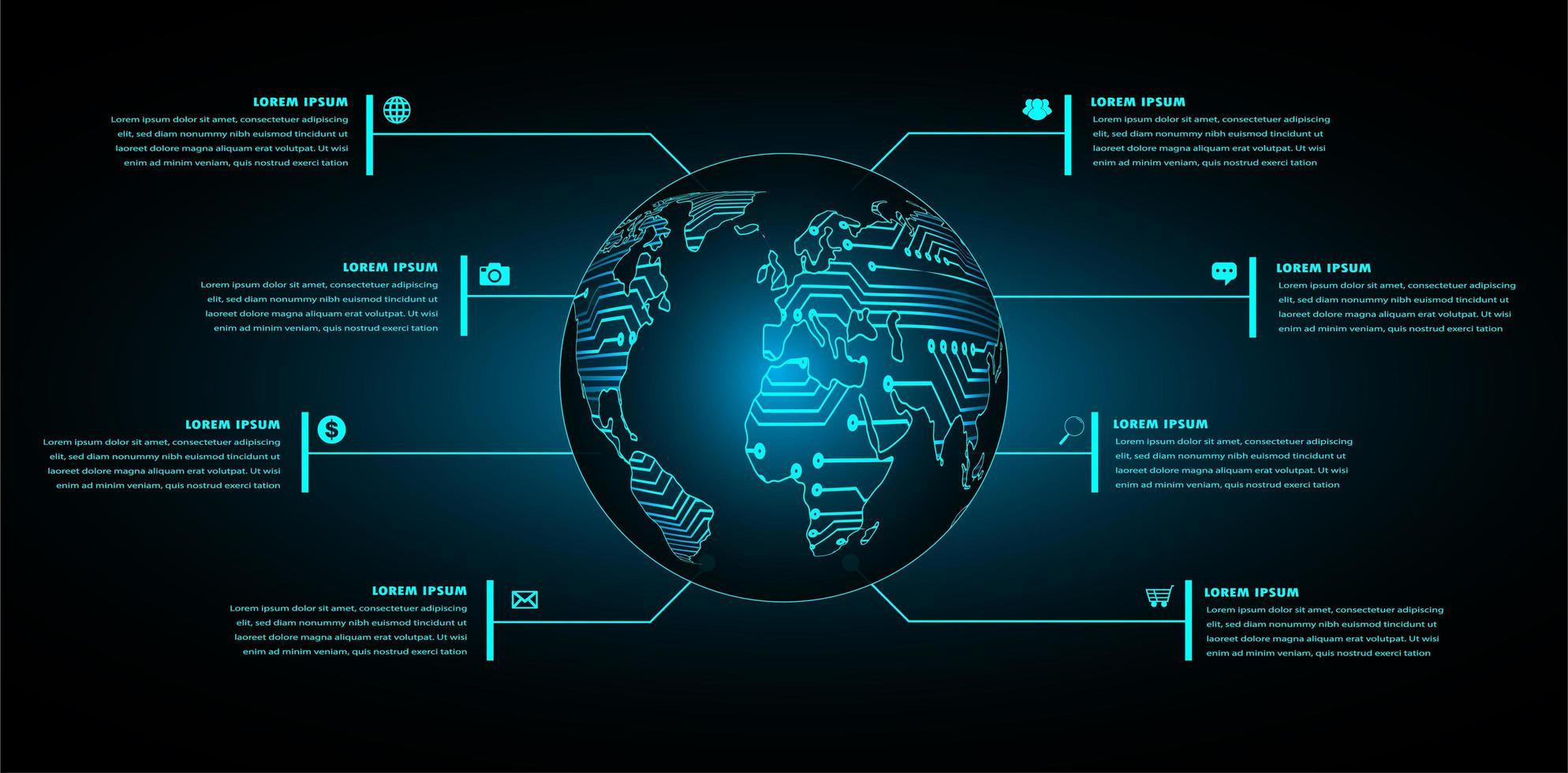världens binära kretskort framtida teknologikoncept vektor