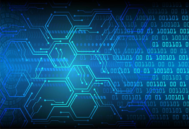 blå hexagon cyberkrets framtida teknisk bakgrund vektor